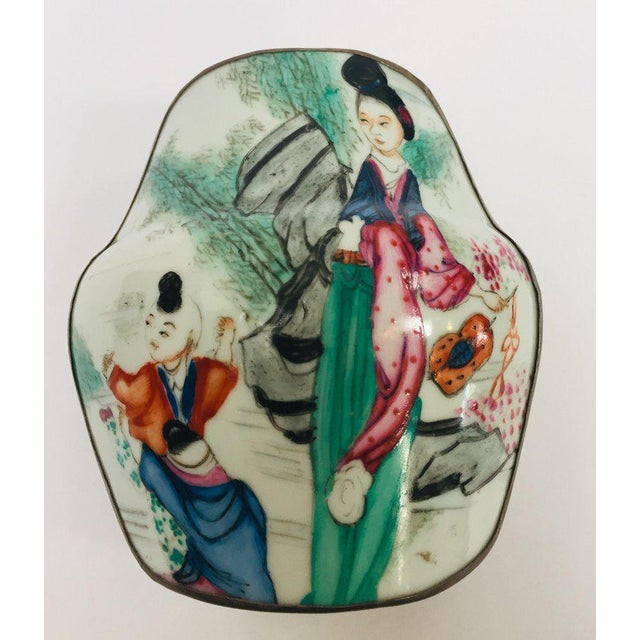 Ceramic Vintage Trinket Metal Box With Porcelain Top Hand Painted Asian Scene For Sale - Image 7 of 13