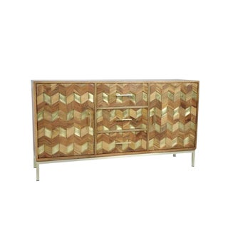 Chevron Design Wooden Sideboard For Sale