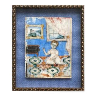 Mid 19th Century American Primitive Miniature Portrait of Chile in Interior For Sale