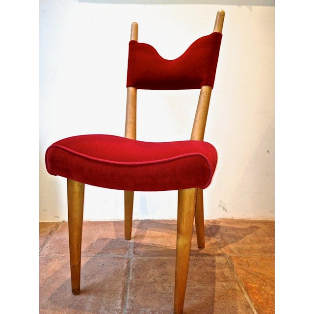 Ash Jean Royere Pair of Documented Chairs Covered in Red Velvet For Sale - Image 7 of 7