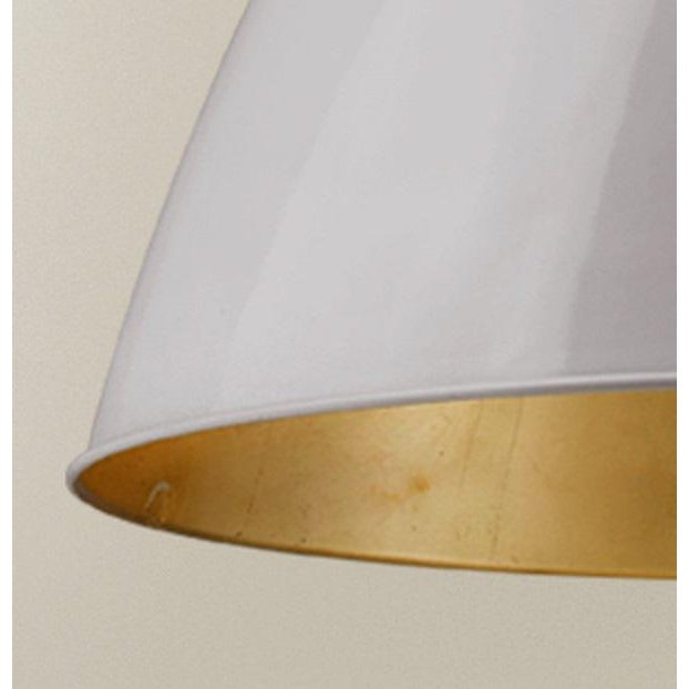 Industrial Lenox 1 Light Rod Pendant, Ceramic White and Gold Leaf For Sale - Image 3 of 6