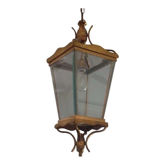 Vintage Italian Brass Lantern Hanging Light For Sale