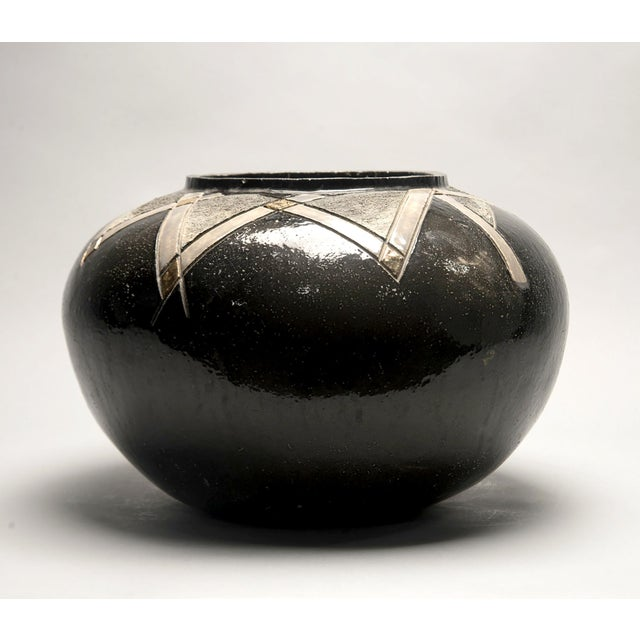 1970s Large Art Pottery Deco Style Black and Gold Vase For Sale - Image 5 of 5