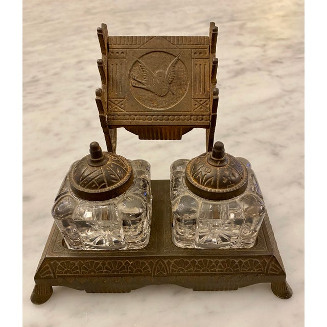 1877 Victorian Cast Iron and Pressed Glass Double Inkwell For Sale - Image 13 of 13