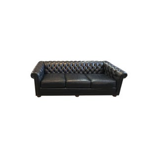 1920s Italian Leather Chesterfield Three Seater Navy Leather Sofa For Sale