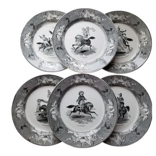 Antique Equestrian and Circus Scenes Black and White Creil Et Montereau Plates- Set of 8
