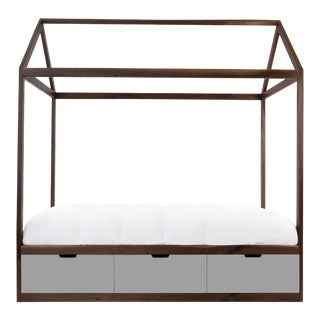 Nico & Yeye Zen Full Panel Bed with Drawers Made of Solid Walnut Gray Drawers For Sale