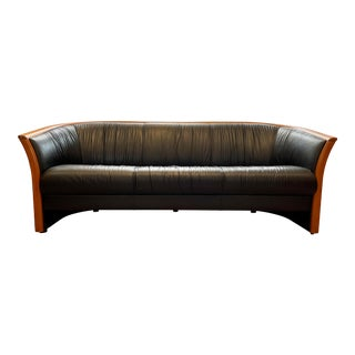 Vintage Scandinavian Ekorness Leather Sofa From Norway For Sale