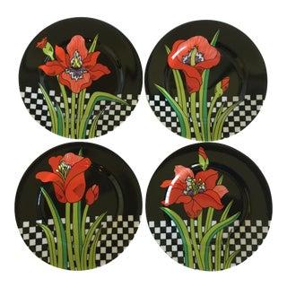 Vintage Fitz and Floyd Jardin Rouge Dessert Plates - Set of 4 For Sale