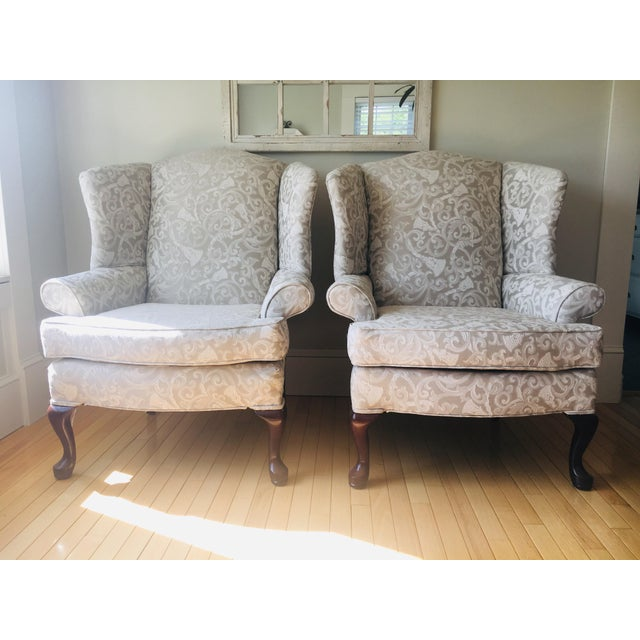 Greige Damask Queen Anne Wingback Chairs - a Set For Sale - Image 11 of 11