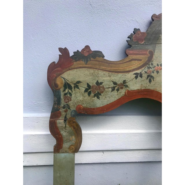 19th Century New England Hand Painted Wooden Headboard For Sale - Image 4 of 12