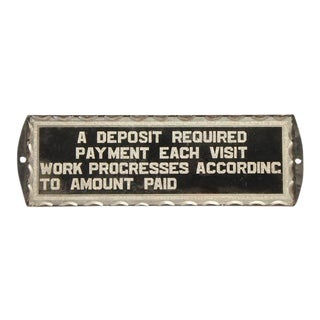 "1930's Reverse Painted Glass ""Deposit Required"" Sign For Sale"
