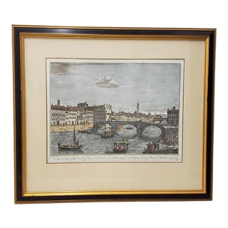 19th Century Antique Hand Colored Engraving After Giuseppe Zocchi For Sale