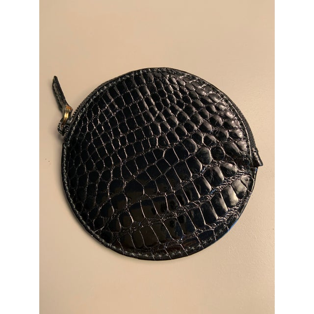 Late 20th Century Gucci Shiny Black Alligator Coin Purse Never Used For Sale - Image 5 of 5