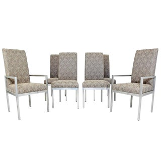 Mid-Century Modern Set of Six Milo Baughman for DIA Chrome Dining Chairs