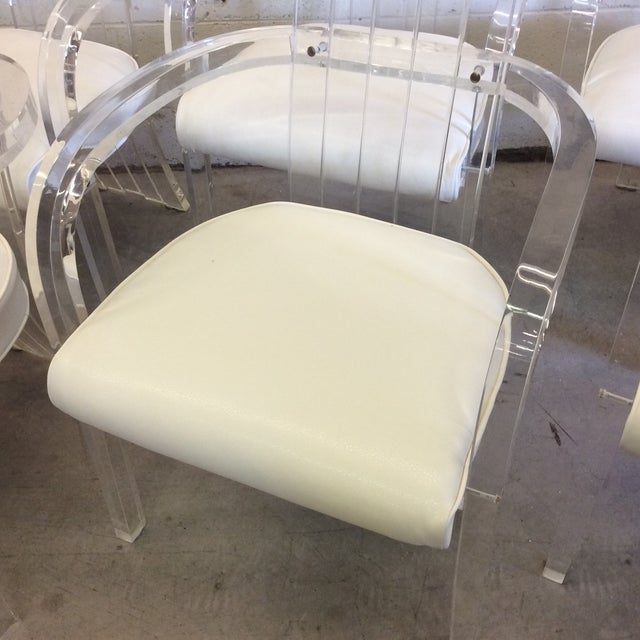 White Lucite Tall Back Dining Chairs - Set of 6 For Sale - Image 8 of 12