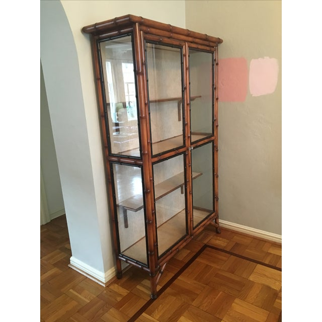 Chinoiserie Faux Bamboo China Cabinet - Image 3 of 6