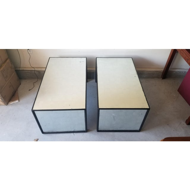 Wood Contemporary Mirrored Waterfall Coffee Table - 2 Available For Sale - Image 7 of 7