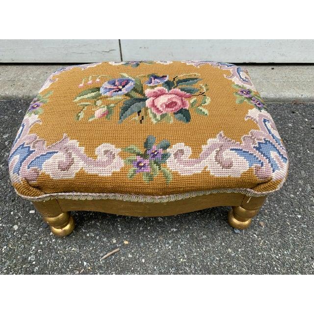 Vintage Needlepoint Footstool For Sale - Image 13 of 13