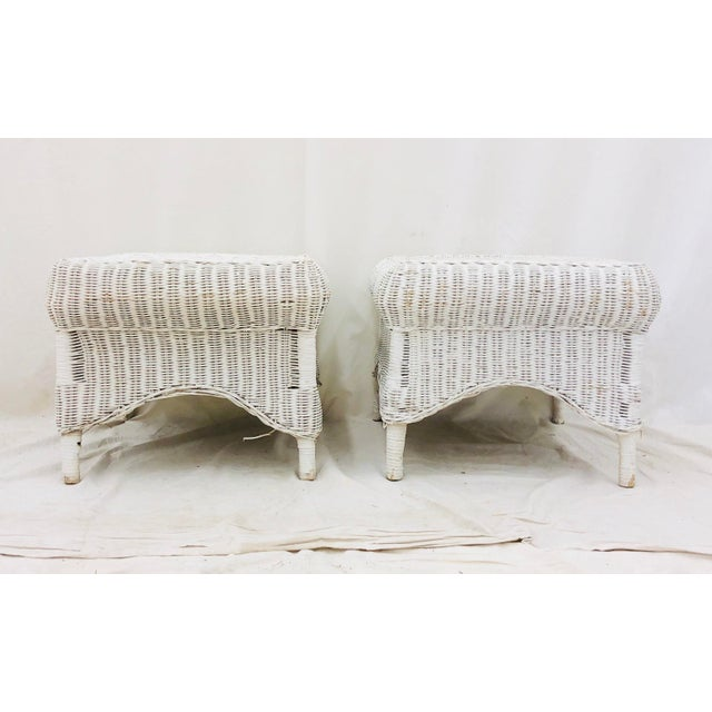 Pair Vintage Woven Wicker Ottomans For Sale - Image 9 of 10