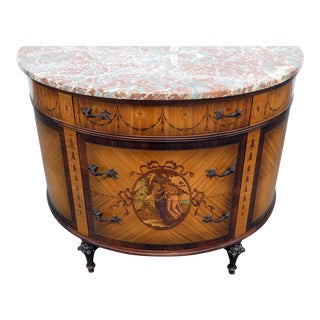 Adams Style Demilune Marble Top Commode For Sale