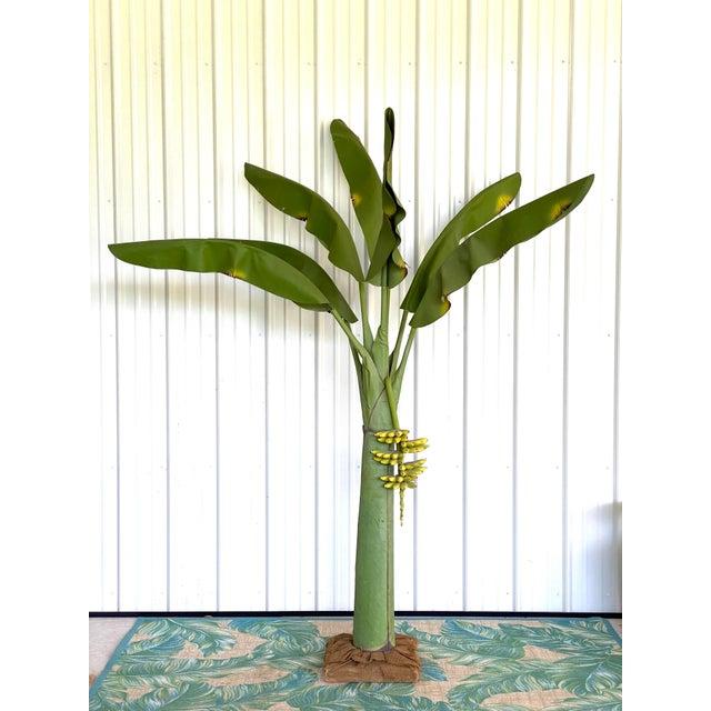 Vintage Coastal Regency Green Canvas Banana Palm Tree For Sale - Image 12 of 12