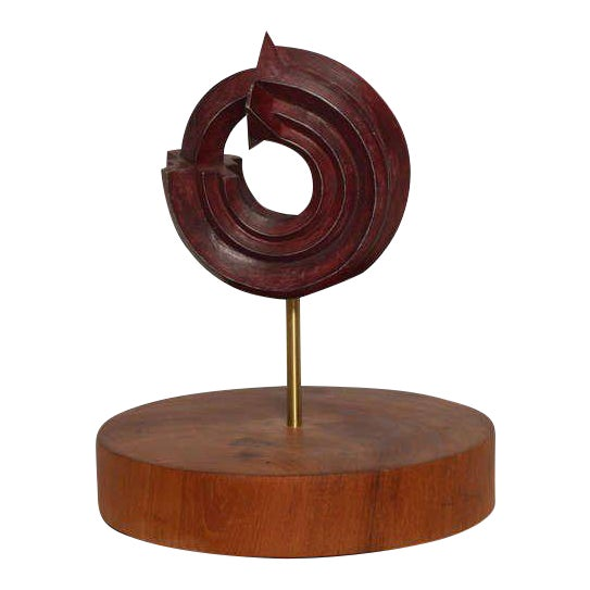 Sebastian Teak & Bronze Sculpture For Sale