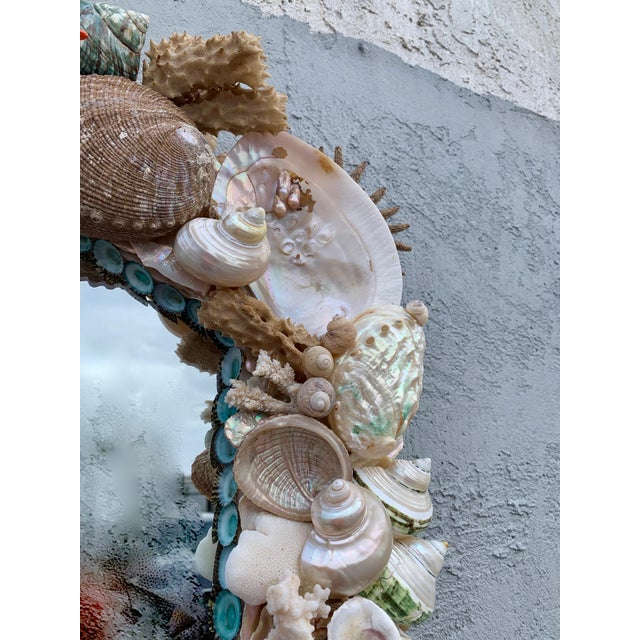 "Christa's South Seashells ""Rustica"" Shell-Encrusted Mirror For Sale - Image 4 of 5"