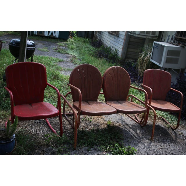 """Vintage metal clam back glider and matching pair of chairs in great vintage condition. Chair dimensions 20"""" wide range..."""