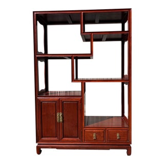 1970s Vintage Asian Style Etagere Room Divider With Storage For Sale