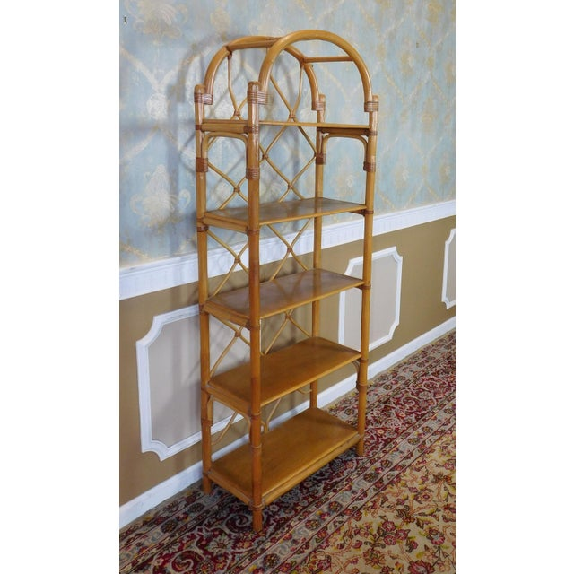Arched Rattan & Bamboo Etagere - Image 3 of 7