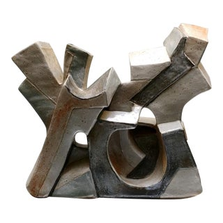 Abstract Cubist Ceramic Sculpture by Daric Harvie For Sale