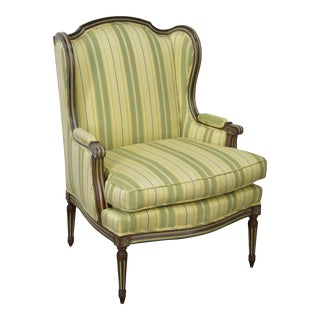Custom Green Striped French Louis XVI Style Bergere Chair