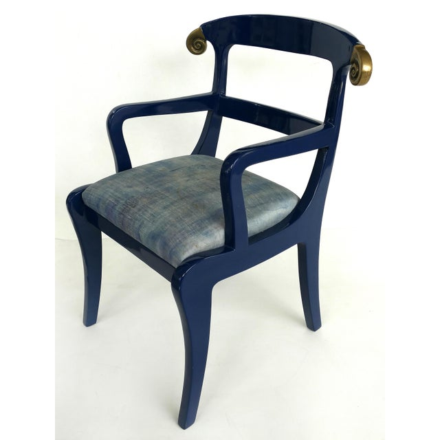 Mid-Century Modern Klismos Ram's Horn Lacquered Arm Chairs- a Pair For Sale - Image 3 of 10