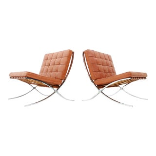 Rare Set of Two Screwed Barcelona Chairs Mies Van Der Rohe Knoll Int. 1955 -1958 For Sale