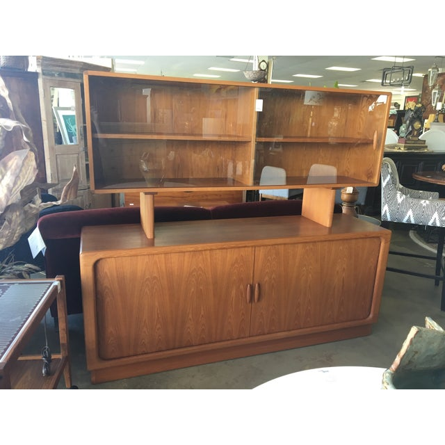 1950s Mid Century Modern Solid Teak Sideboard and Floating Hutch With Accordion Doors For Sale - Image 12 of 12