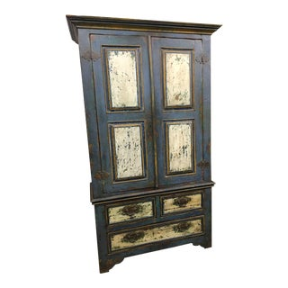 Rustic Distressed Entertainment Cabinet For Sale