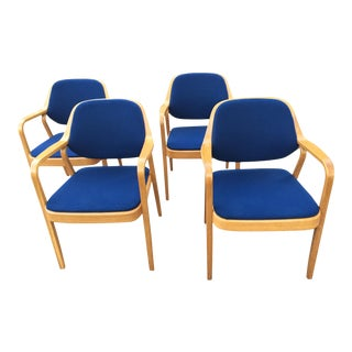 Late 20th Century Vintage Don Petitt for Knoll International Walnut Bentwood Armchairs- Set of 4 For Sale