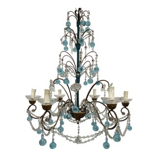 19th C Italian Crystal Chandelier With Tiffany Blue Accents For Sale