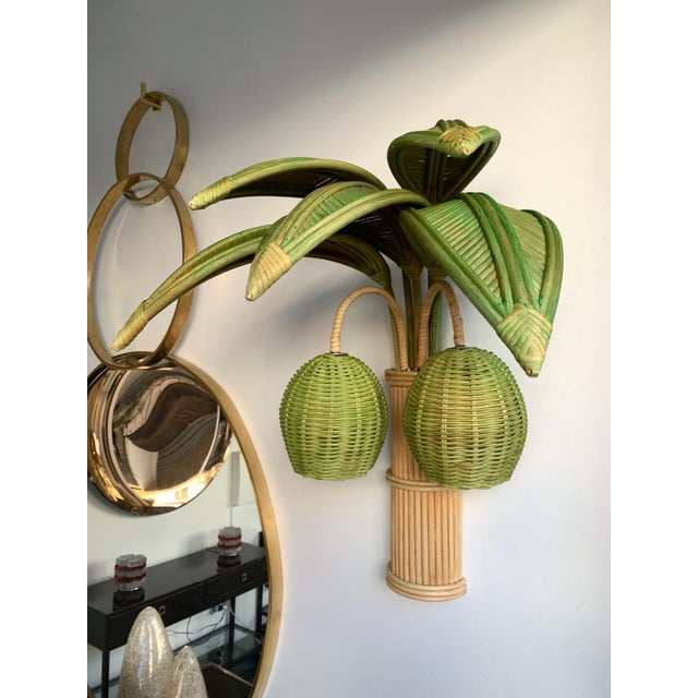 Green Pair of Rattan Palm Tree Sconces. France, 1980s For Sale - Image 8 of 11
