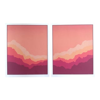"Anglea Aman Post Modern 1980's Lmtd Edtn Diptych Original Silkscreen Prints "" Rainbow Ridge II "" - a Pair For Sale"