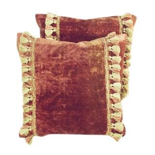 Antique Madder Red Velvet Pillows - A Pair