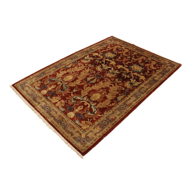Asian Istanbul Philomen Rust/Tan Turkish Hand-Knotted Rug -4'10 X 6'11 For Sale - Image 3 of 8