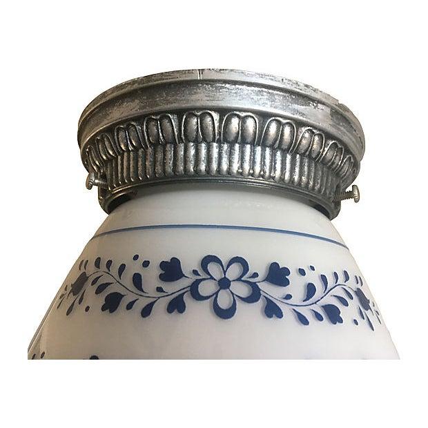 Mid Century Milk Glass Floral Flush Light For Sale - Image 4 of 9