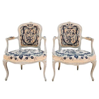 French Petit Point Fauteuils - a Pair For Sale