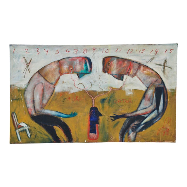 Large Oil on Canvas in the Style of Jean-Michel Basquiat For Sale