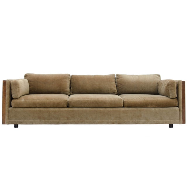 Mid-Century Modern Milo Baughman Style Burl Wood Sofa For Sale - Image 3 of 11