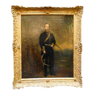 Mid 19th Century Antique Alexander Melville Portrait of a Mexican Officer Oil on Canvas Painting For Sale