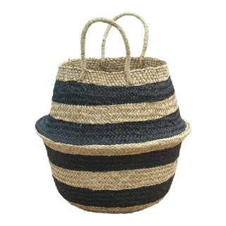 Brunna Stripes Tribes Straw Basket Bag, in Black For Sale