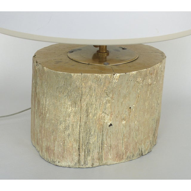 Contemporary Silver Leaf and Giltwood Table Lamp For Sale - Image 3 of 9